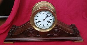 1918 Waterbury Clock Company Brass Ships Bell Dark Wood Base