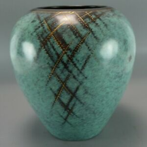 1930 S Wmf Ikora Vase Teal Green Gold Abstract Art Small Copper Metal Polished