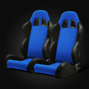 Universal Jdm Blue Pineapple Fabric pvc Leather Left right Racing Bucket Seats