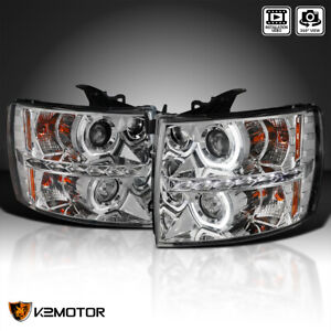 For 2007 2014 Silverado 1500 2500 3500 Led Strip U Halo Projector Headlights