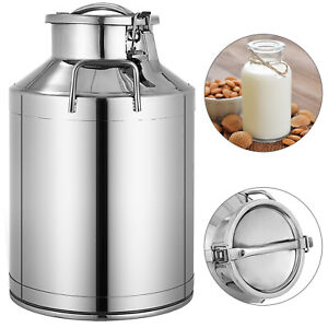 30l 8 Gallon Stainless Steel Milk Can Wine Pail Bucket Tote Jug In One Piece