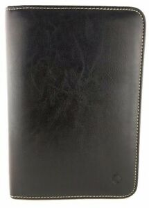 Franklin Covey Black Leather Compact 6 Ring Zip Planner Binder Back To School