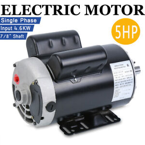 5 Hp Air Compressor Duty Electric Motor 3450 Rpm 7 8 Shaft Single Phase