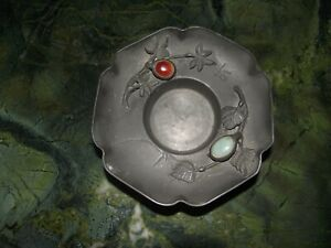 Antique Chinese Pewter Coaster Jade Red Green From 1880s Maker Chow Shing Mon