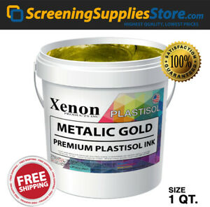 Xenon Metallic Gold Plastisol Ink For Screen Printing 1 Quart 32oz