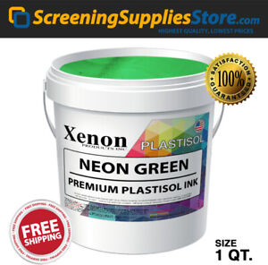 Xenon Neon Green Plastisol Ink For Screen Printing 1 Quart 32oz