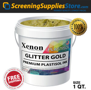 Xenon Gold Glitter Plastisol Ink For Screen Printing 1 Quart 32oz