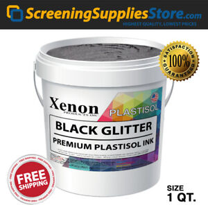Xenon Black Glitter Plastisol Ink For Screen Printing 1 Quart 32oz