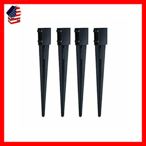 Mtb Fence Post Anchor Ground Spike Metal Black Powder Coated 24 x4 x4 Pack