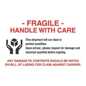 4 X 6 Fragile Handle With Care Labels 500 Per Roll