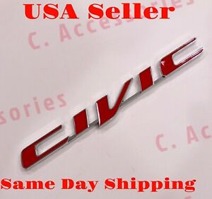 3d Civic Red Emblem Badge Decal Sticker