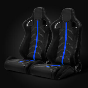 Universal Black Pvc Leather blue Strip white Stitching Left right Racing Seats