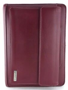 Franklin Covey Red Full Grain Leather Classic 7 Ring Zip Planner Binder Handles