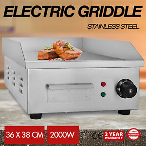2000w 14 Electric Countertop Griddle Flat Top Commercial Restaurant Grill Bbq