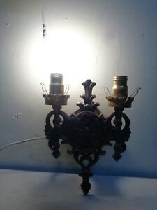Vintage Brass Double Lamp Wall Sconce