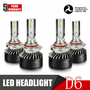 9005 9006 Combo Led Headlights High low Beam Bulbs Kit 6000k White 24000lm Dh