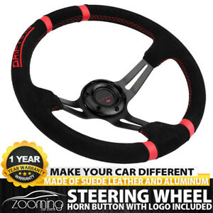 350mm 3 Spoke Deep Dish Jdm Sport Racing Drifting Steering Wheel Suede Leather