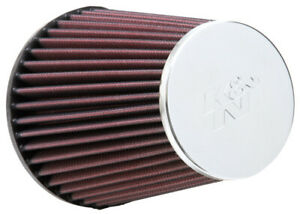 K n Universal Round Tapered Chrome Air Filter 3in Flange Id 5in Base Od 3 5in To