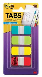 Post it Tabs Durable Assorted Solid Blue Red Yellow White 1 2 3 Dispenser Pack