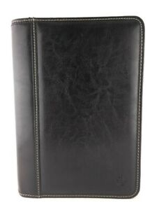 Franklin Covey Black Leather Classic 7 Ring Zipper Planner Binder Usa 3 4 Ring