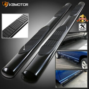Black 2009 2018 Ram 1500 Crew Cab 4 Oval Running Boards Nerf Side Step Bars Ss