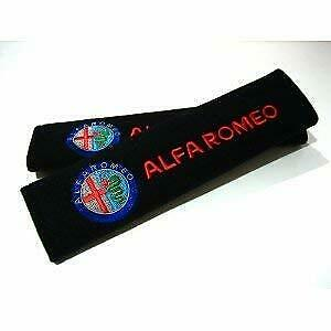 Pair Embroidery Seat Belt Cover Shoulder Pad Cushion Racing For Alfa Romeo