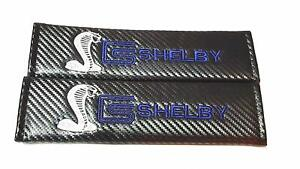 2x Carbon Fiber Seat Belt Cover Shoulder Pad Cushion With Shelby For Mustang