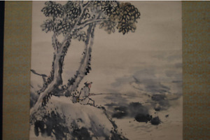 Japanese Painting Hanging Scroll Japan Keinen Imao Fishing Under Tree Shadow F S