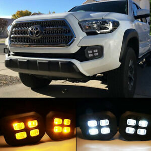 Fit 2016 2017 2018 Toyota Tacoma 4 Eyes Style Fog Lights Amber Clear Light Lamps