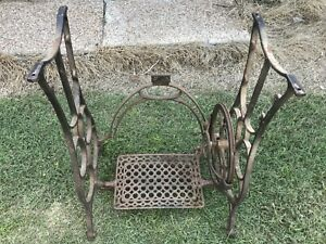 Vintage Cast Iron Treadle Sewing Machine Base Table Legs Stand