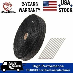 1 X 50 Roll Black Motorcycle Exhaust Wrap Heat Manifold Header Stainless Ties
