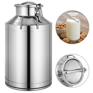 40l Stainless Steel Milk Can Wine Pail Boiler Tote Jug Lid 10 5 Gallon