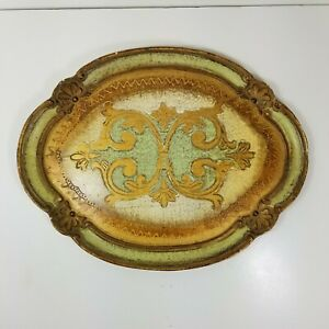 Vintage Italian Florentine Tray Baroque Italy Toleware Gold Gilt Green Wood Oval