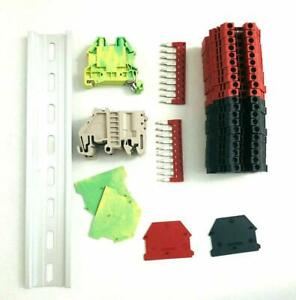 Red black Din Rail Terminal Block Kit Dinkle 20 Dk4n 10 Awg Gauge 30a 600v