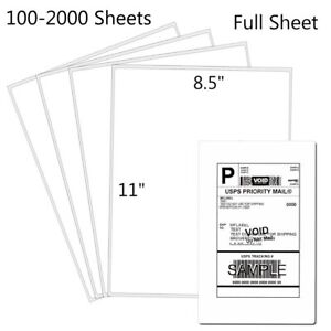 100 Full Sheet Shipping Labels 8 5x11 Self Adhesive Blank Paper For Laser inkjet