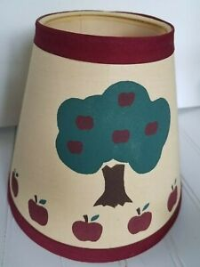Vtg 7 Fabric Lamp Shade Apple Tree Red Trim Primitive Country Farm House 1980s
