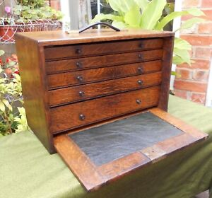 Vintage Oak Engineer S Tool Chest Collector S Cabinet Five Drawers Slide