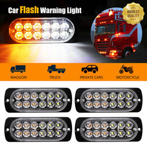4pcs Amber 12 Led Car Truck Emergency Beacon Warning Hazard Flash Strobe Light