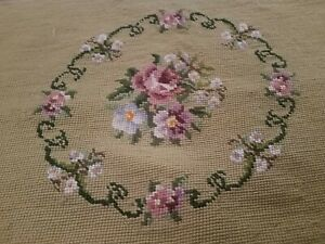 Beautiful Antique Victorian Needlepoint Beige Background Floral Bouquet Center