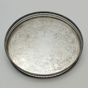 Vintage Viners Of Sheffield Silver Plated Serving Tray Platter Vanity Circle