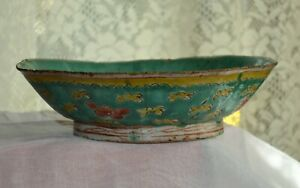 Antique Chinese Ceramic Bowl Flowers Qing Dynasty 19th Century 1890 S