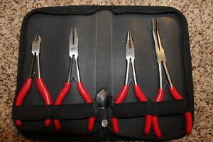 New Red Mac Tools 4 Pc Precision Reach Plier Set With Zipper Case
