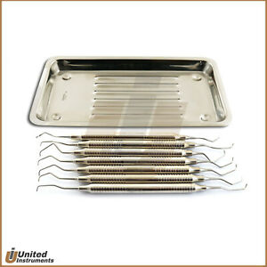 Set Of 7 Periodontal Gracey Curettes Dental Surgical Instruments Scaler Tray