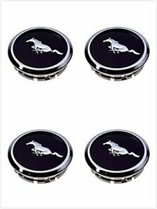 Fm66 2005 2014 Mustang Wheel Center Hub Caps Covers Black Chrome Pony Emblem 4