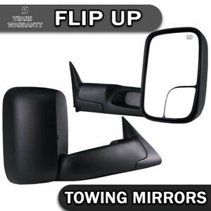 Pair Fit 98 01 Dodge Ram 1500 2500 3500 Flip Up Power Heated Tow Mirrors