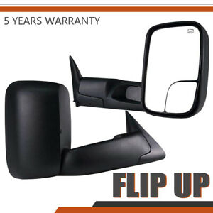 Left Right 98 01 Fit Dodge Ram 1500 2500 3500 Flip Up Power Heated Tow Mirrors