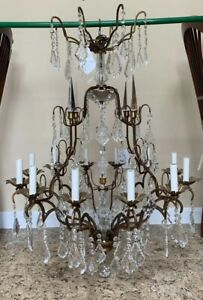 Italian Crystal Beaded Chandelier 12 Light French Directories Louis Xv Style