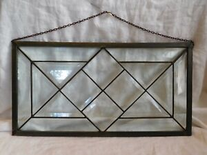 Leaded Beveled Clear Glass Window 18 X 9 5 Panel Vintage
