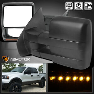 For 2004 2006 F150 Pickup Power Heated Towing Side Mirrors Led Signal Left Right