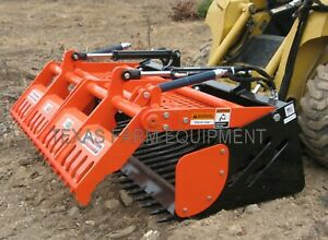 72 Skid Steer Rock Bucket With Sweep Action Grapple Increases Efficiency